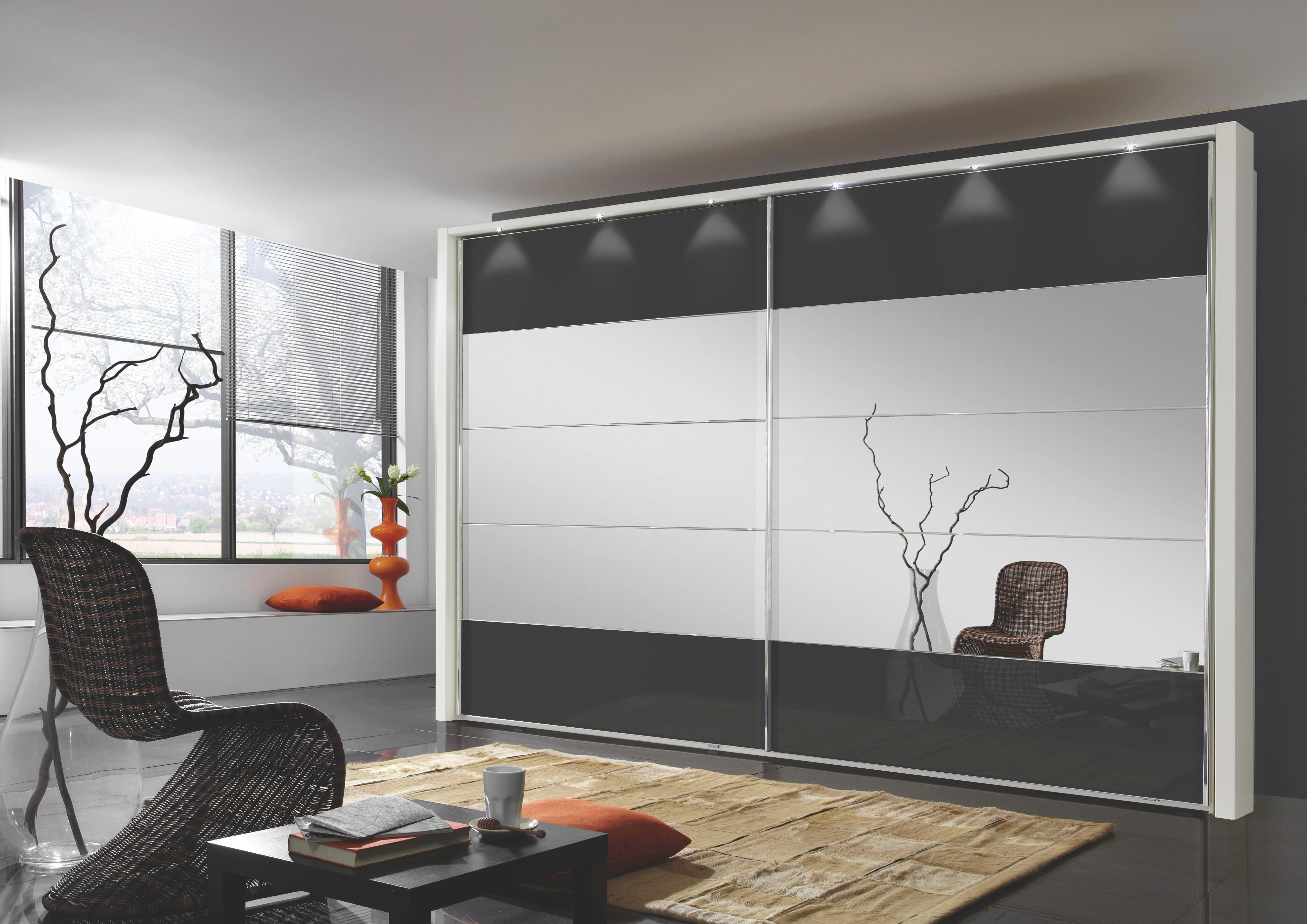 SCHWEBETÜRENSCHRANK 2  -türig Schwarz, Weiß - Chromfarben/Schwarz, Design, Glas/Holzwerkstoff (200/236/67cm) - VENDA