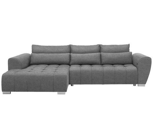 WOHNLANDSCHAFT in Textil Grau - Silberfarben/Grau, MODERN, Kunststoff/Textil (218/304cm) - Carryhome