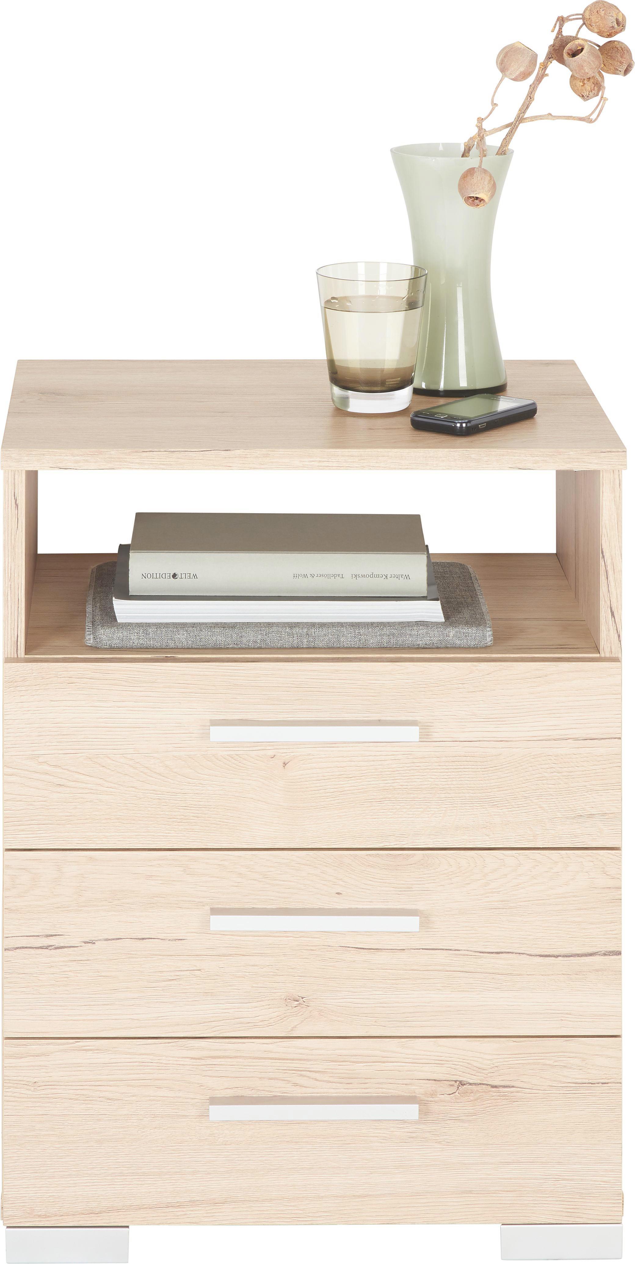 SÄNGBORD - alufärgad/ekfärgad, Design, träbaserade material/plast (45/62/35cm) - Carryhome