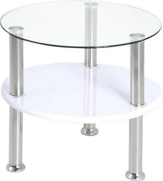 BEISTELLTISCH rund Edelstahlfarben, Weiß - Edelstahlfarben/Weiß, Design, Glas/Metall (45/42cm) - CARRYHOME