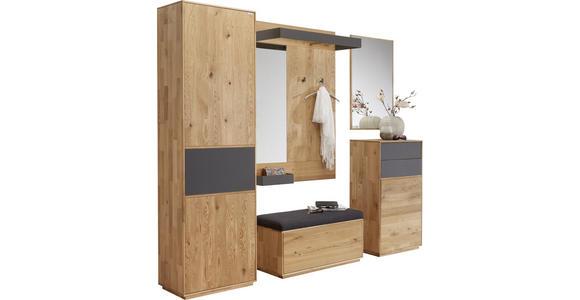 GARDEROBENSCHRANK Eiche massiv Anthrazit, Eichefarben  - Eichefarben/Anthrazit, Design, Glas/Holz (60/205/38cm) - Valnatura