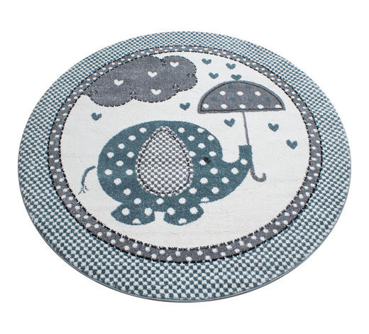 KINDERTEPPICH   Blau, Grau, Weiß   - Blau/Weiß, Trend, Textil (120cm) - Ben'n'jen
