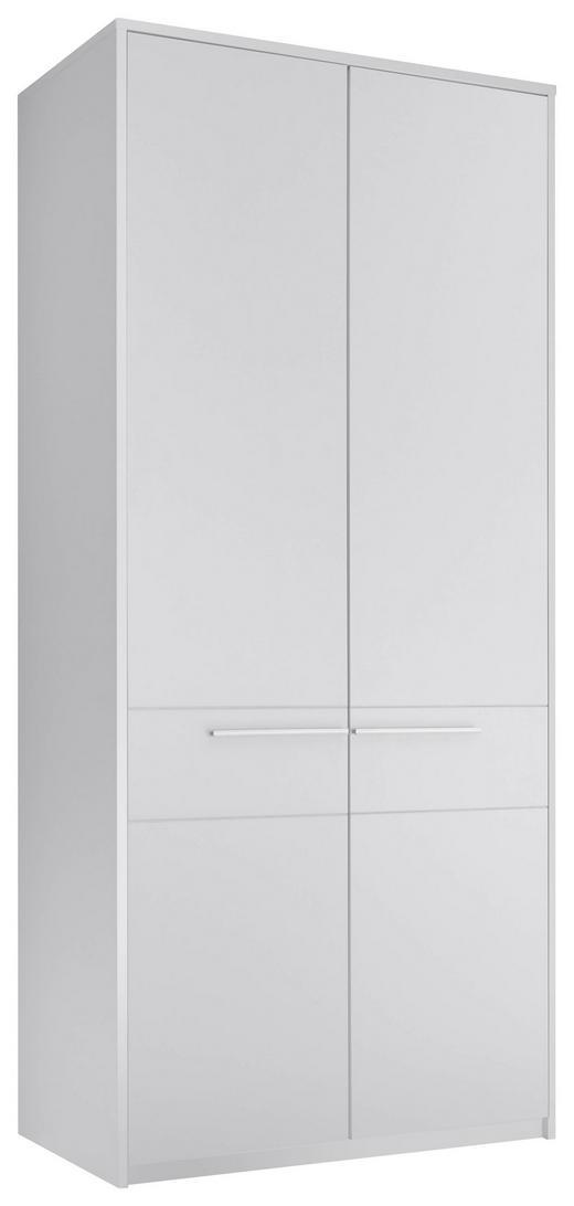 DREHTÜRENSCHRANK 2-türig Weiß - Silberfarben/Weiß, KONVENTIONELL, Holzwerkstoff/Kunststoff (102/230/60cm) - Carryhome