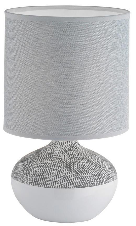 TISCHLEUCHTE - Weiß/Grau, KONVENTIONELL, Keramik/Textil (32cm)