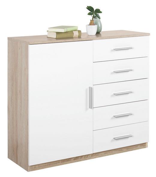 KOMMODE Weiß, Eichefarben - Eichefarben/Alufarben, KONVENTIONELL, Holzwerkstoff/Kunststoff (100/86/37cm) - Carryhome