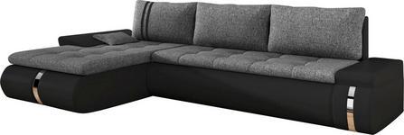 WOHNLANDSCHAFT in Textil Schwarz, Dunkelgrau  - Dunkelgrau/Schwarz, KONVENTIONELL, Kunststoff/Textil (178/278cm) - Carryhome