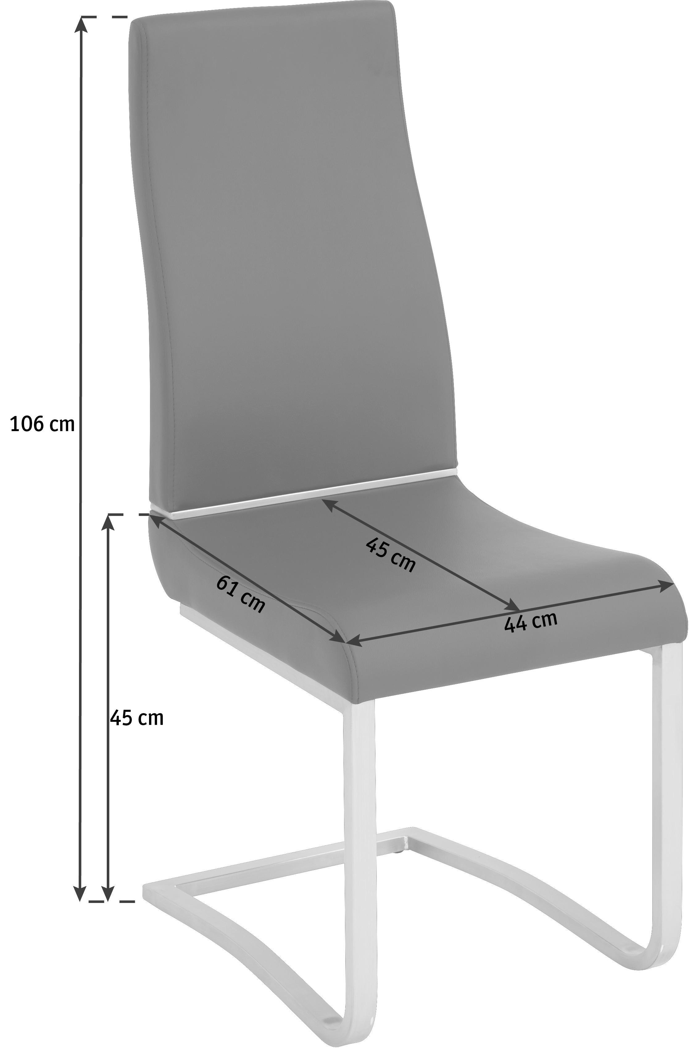 SCHWINGSTUHL in Metall, Textil Edelstahlfarben, Weiß - Edelstahlfarben/Weiß, MODERN, Textil/Metall (44/106/61cm) - NOVEL