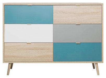 VISOKA KOMODA - Petrolej plava/Siva, Konvencionalno, Pločasti materijal (120/87/40cm) - Carryhome