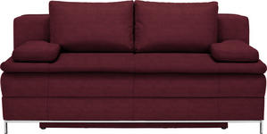 BOXSPRINGSOFA in Textil Weinrot  - Chromfarben/Weinrot, Design, Textil/Metall (200/93/107cm) - Novel
