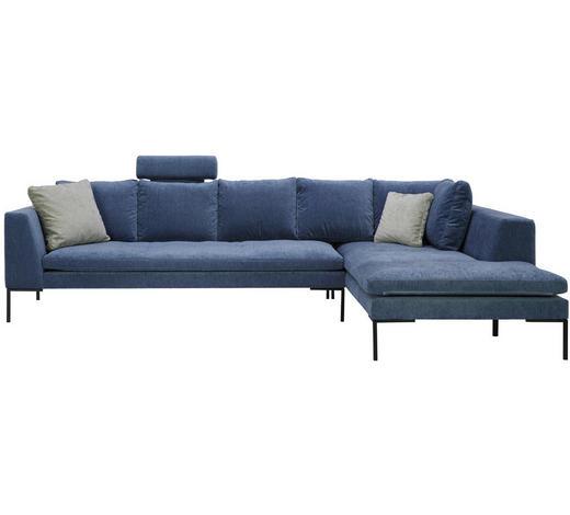 WOHNLANDSCHAFT in Textil Blau - Blau/Schwarz, Design, Textil/Metall (319/230cm)