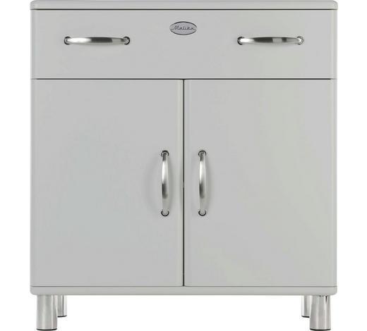 KOMMODE lackiert, Melamin Silberfarben - Silberfarben/Nickelfarben, Design, Holzwerkstoff/Metall (86/92/41cm) - Carryhome