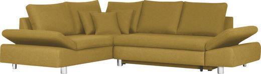 Ecksofa Gelb Bettkasten, Rückenkissen, Schlaffunktion, Zierkissen - Chromfarben/Gelb, Design, Textil/Metall (222/283cm) - Carryhome