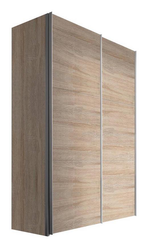 SCHWEBETÜRENSCHRANK 2  -türig Sonoma Eiche - Alufarben/Sonoma Eiche, KONVENTIONELL, Holzwerkstoff/Metall (150/216/68cm) - Hom`in