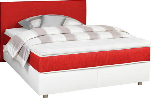 BOXSPRINGBETT  in Rot, Weiß - Silberfarben/Rot, Design, Holz/Textil (200/200cm) - Carryhome