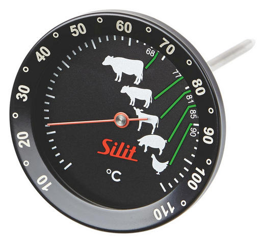 BRATENTHERMOMETER - Rot/Schwarz, Basics, Glas/Metall (17/7/7cm) - Silit