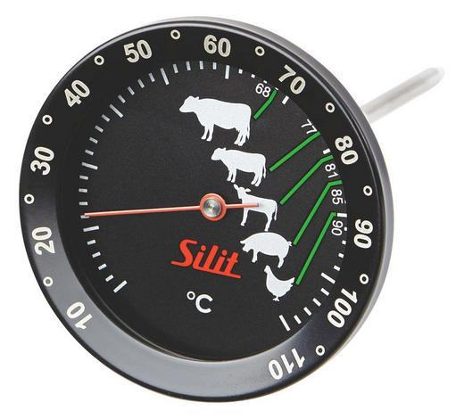 BRATENTHERMOMETER - Rot/Schwarz, Design, Glas/Metall (17/7/7cm) - Silit