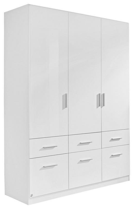KLEIDERSCHRANK 3-türig Weiß - Alufarben/Weiß, Design, Holzwerkstoff/Kunststoff (136/197/54cm) - Carryhome