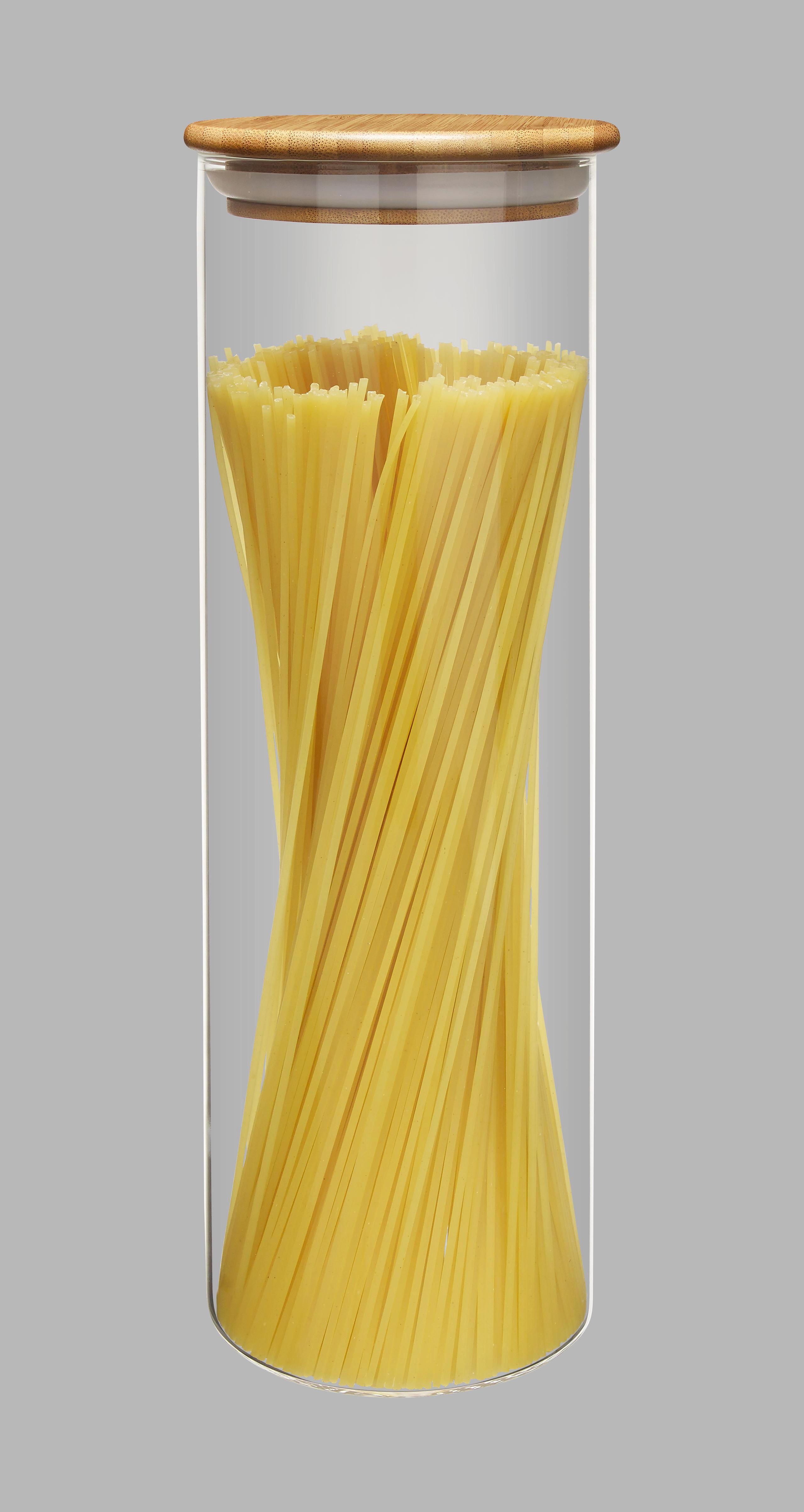 SKLENĚNÁ DÓZA NA POTRAVINY - čiré/přírodní barvy, Basics, dřevo/umělá hmota (10/31cm) - HOMEWARE