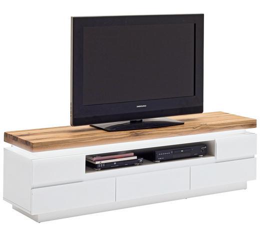 LOWBOARD matt, Mattlack Weiß  - Eichefarben/Weiß, Design, Holz/Holzwerkstoff (175/49/40cm)