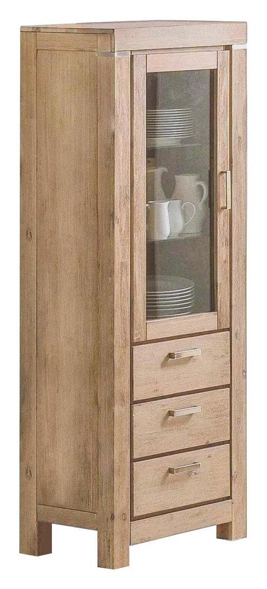 VITRINE Akazie massiv Akaziefarben - Alufarben/Akaziefarben, Design, Glas/Holz (68/186/44cm) - Carryhome