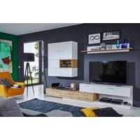 OBÝVACÍ STĚNA, bílá, barvy dubu - bílá/barvy stříbra, Design, kompozitní dřevo/umělá hmota (280/185/47cm) - Ti`me