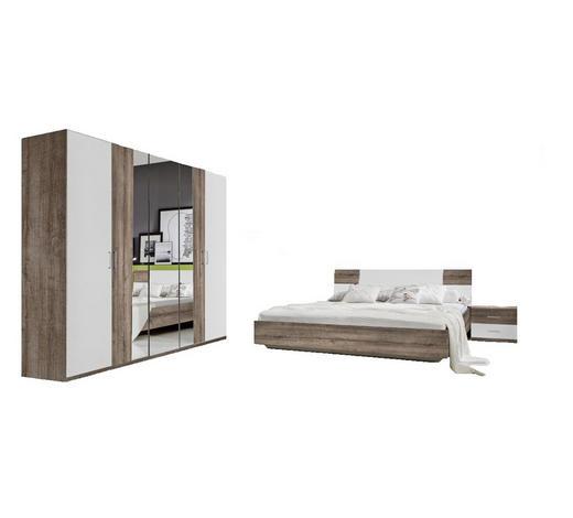 LOŽNICE, bílá, barvy dubu - bílá/barvy dubu, Design, kompozitní dřevo/sklo (180/200cm) - Carryhome