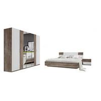 SPAVAĆA SOBA - bijela/boje hrasta, Design, staklo/drvni materijal (180/200cm) - Xora