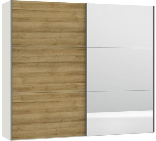 SCHWEBETÜRENSCHRANK in Weiß, Eichefarben - Eichefarben/Silberfarben, Design, Glas/Holzwerkstoff (252,8/220/65cm) - Jutzler
