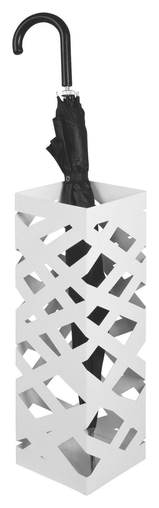 SCHIRMSTÄNDER Metall Weiß - Weiß, Design, Metall (16/48/16cm)