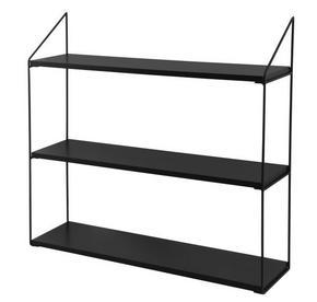 VÄGGHYLLA - svart, Klassisk, metall/träbaserade material (60/54/15cm)