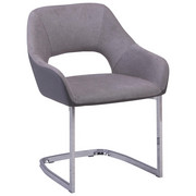 SCHWINGSTUHL Lederlook, Webstoff Chromfarben, Grau - Chromfarben/Grau, Design, Textil/Metall (59/79/60cm) - TI`ME