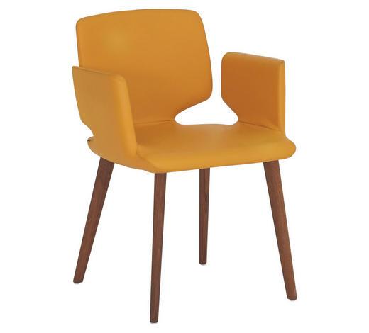 STUHL in Holz, Leder Gelb, Nussbaumfarben  - Gelb/Nussbaumfarben, Design, Leder/Holz (57,5/81/56cm) - Team 7