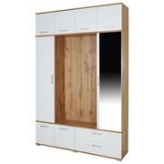 PREDSOBA bela, hrast - bela/hrast, Konvencionalno, steklo/leseni material (150,1/230/35cm) - Carryhome