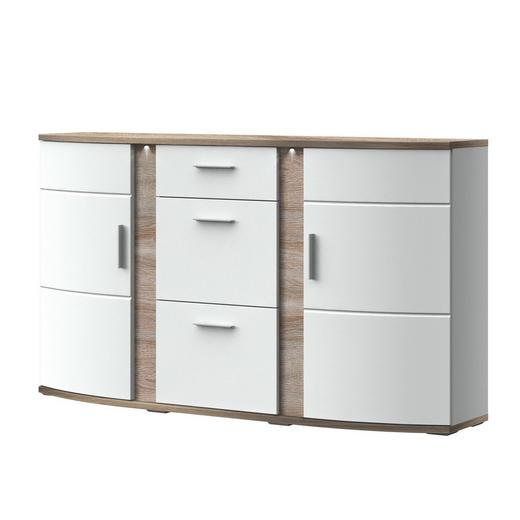 SIDEBOARD Melamin Weiß, Eichefarben - Eichefarben/Alufarben, Design, Glas/Kunststoff (165,1/52,6/50cm) - Xora