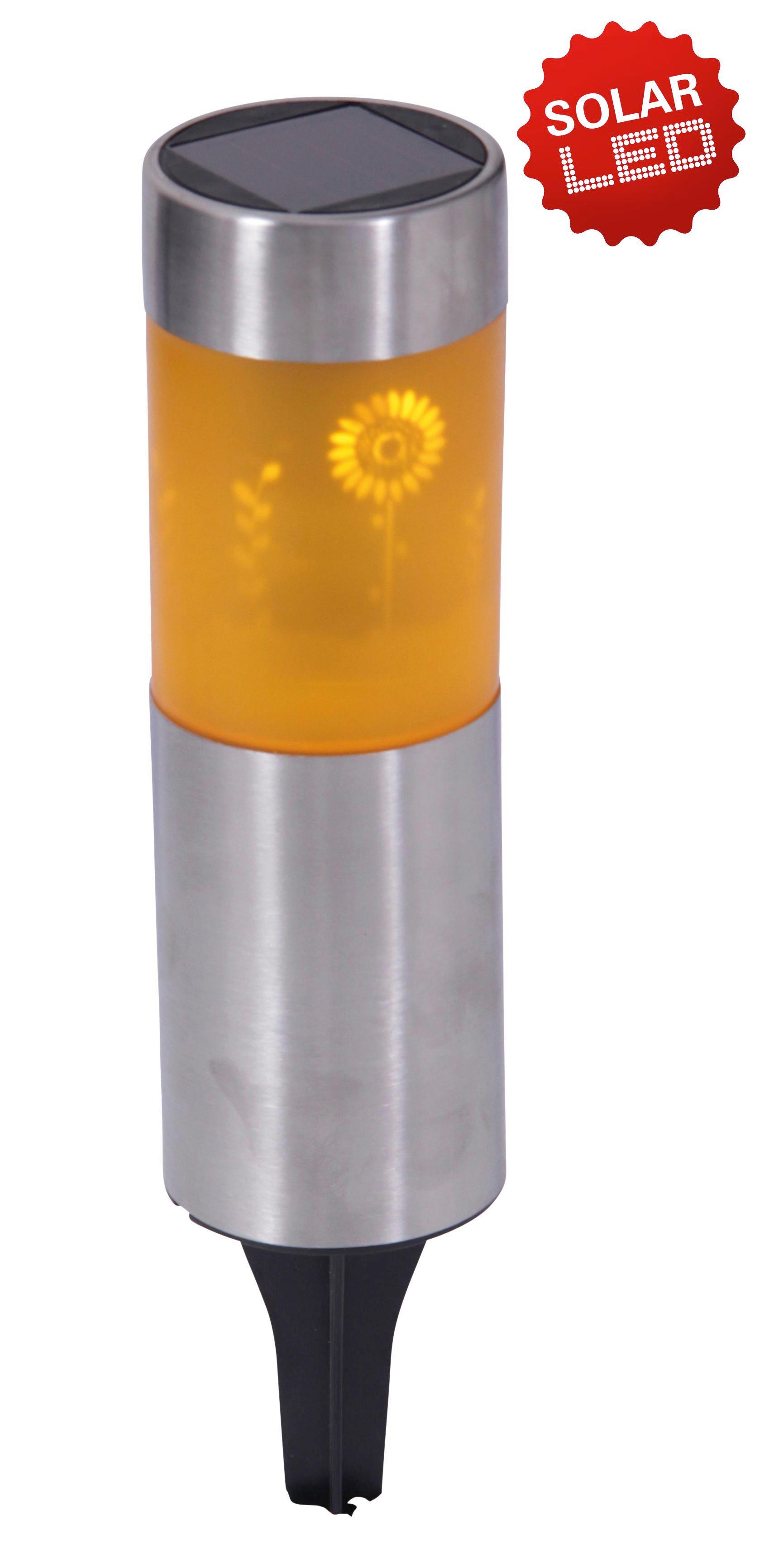 SOLARLEUCHTE - Edelstahlfarben/Gelb, Design, Kunststoff/Metall (6,4/31,2cm)