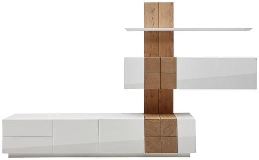 WOHNWAND Asteiche furniert Eichefarben, Weiß - Eichefarben/Weiß, Design, Holz (305/190/52cm) - Ambiente