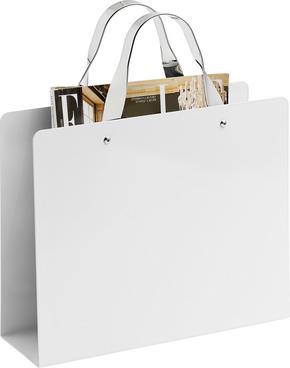 TIDNINGSSTÄLL - vit/kromfärg, Design, metall (30/25/35,3/10cm) - Boxxx