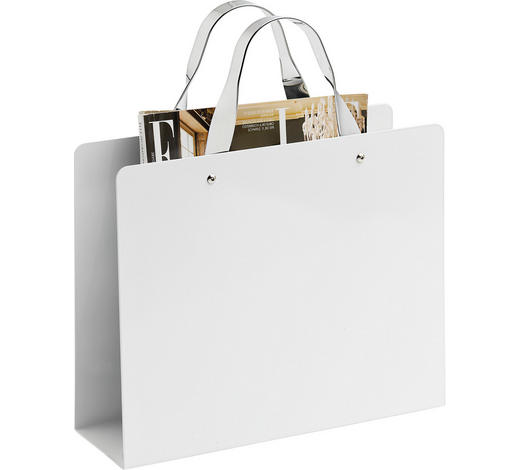 ZEITUNGSSTÄNDER - Chromfarben/Weiß, Design, Metall (30/25/35,3/10cm) - Boxxx