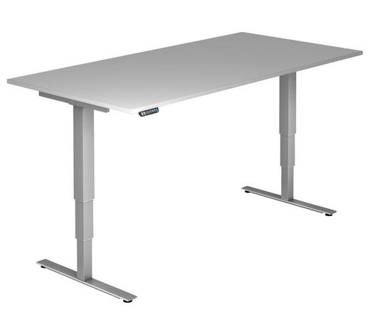 SCHREIBTISCH - Silberfarben/Grau, KONVENTIONELL, Holzwerkstoff/Metall (200/63,5-128,5/100cm)
