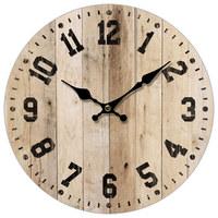 HODINY NÁSTĚNNÉ - černá/přírodní barvy, Basics, dřevo/papír (33,8cm) - Ambia Home