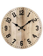 HODINY NÁSTĚNNÉ, přírodní barvy, černá, 33,8 cm - černá/přírodní barvy, Basics, dřevo/papír (33,8cm) - Ambia Home