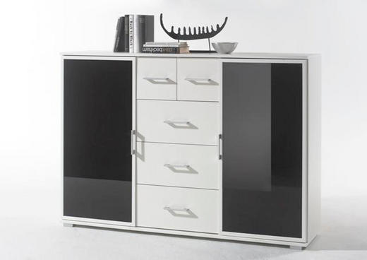 HIGHBOARD Schwarz, Weiß - Silberfarben/Schwarz, Design, Glas/Holzwerkstoff (142/102/38cm) - Carryhome