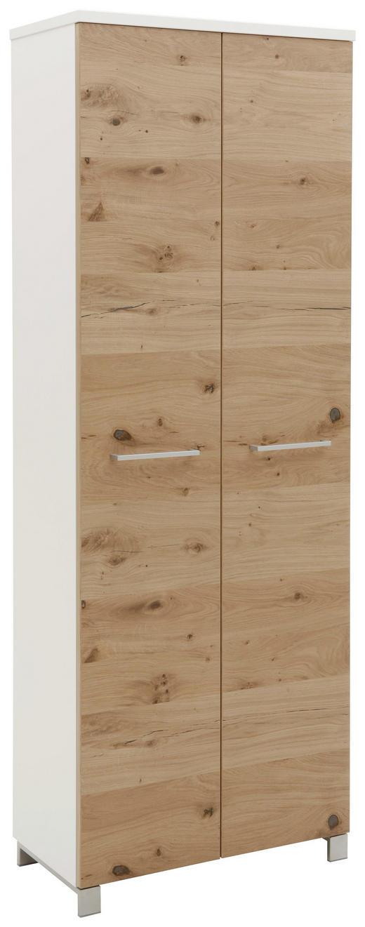 GARDEROBENSCHRANK Balkeneiche furniert lackiert Eichefarben, Weiß - Chromfarben/Eichefarben, Design, Holz/Holzwerkstoff (71/193/37cm) - Dieter Knoll