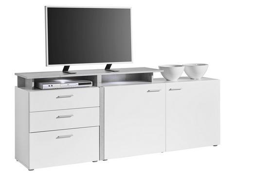 TV-ELEMENT Grau, Weiß - Anthrazit/Silberfarben, Design, Holzwerkstoff/Kunststoff (184/76/40cm) - Carryhome