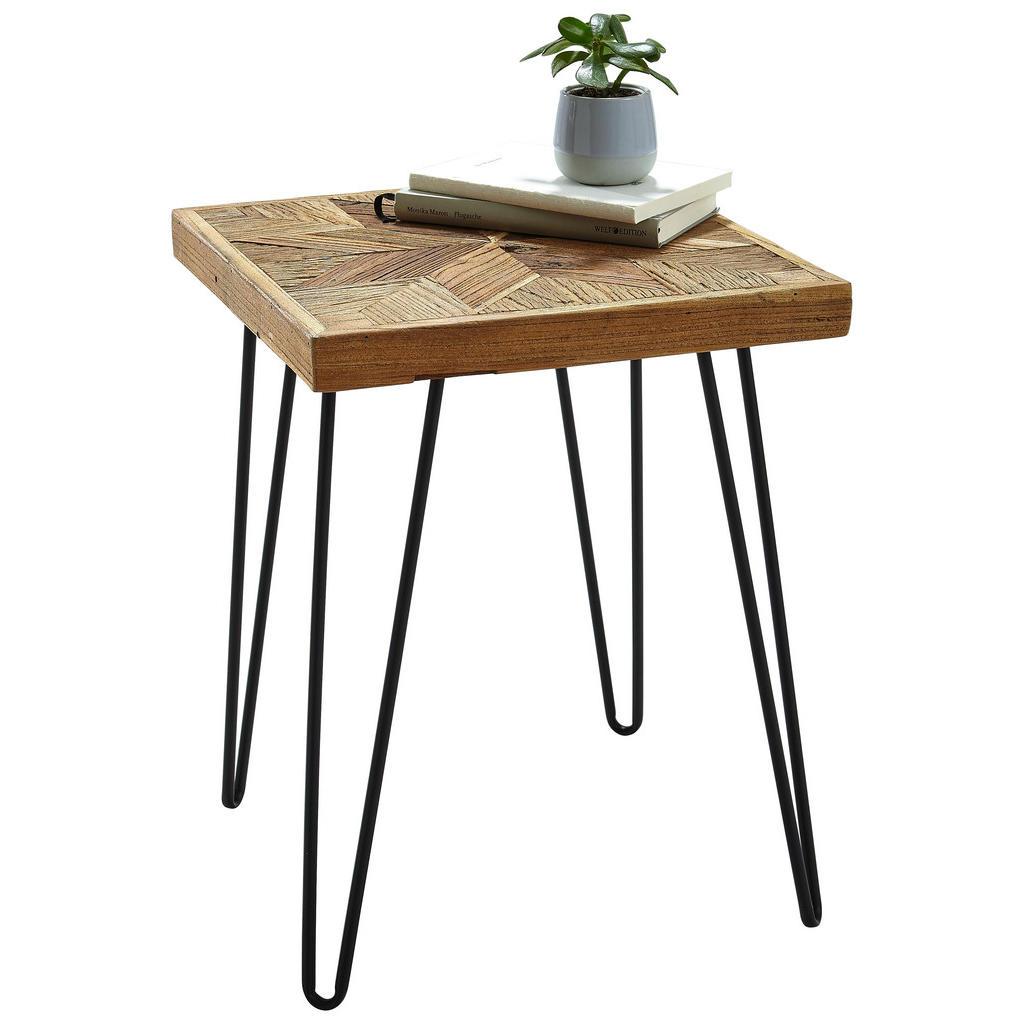Quadratischer, kleiner Tisch aus Ulmenholz und Stahl
