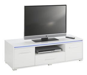 MEDIABÄNK - vit/silver, Design, träbaserade material/plast (130/38/45cm) - Low Price