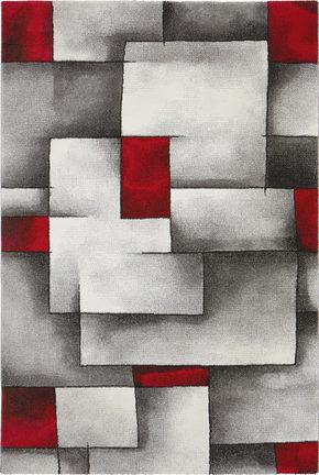 VÄVD MATTA 80/150 cm - vit/röd, Klassisk, textil (80/150cm) - Novel
