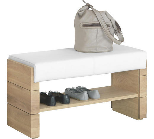 GARDEROBENBANK Echtleder Wildeiche massiv Weiß, Eichefarben  - Eichefarben/Weiß, Design, Leder/Holz (91/49/38cm) - Voglauer