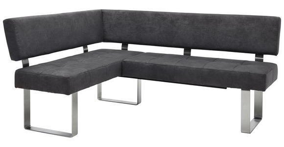 ECKBANK 137/182 cm  in Anthrazit, Silberfarben  - Edelstahlfarben/Anthrazit, Design, Textil/Metall (137/182cm) - Dieter Knoll