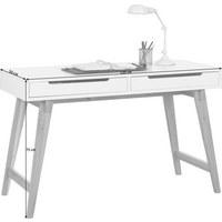 SCHREIBTISCH Eiche massiv Weiß, Eichefarben  - Eichefarben/Weiß, Design, Holz (120/75/50cm) - Hom`in